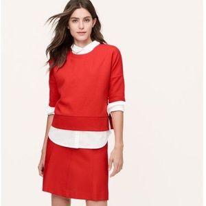 Loft Red Orange Quilted Sweater Zipper Detailing